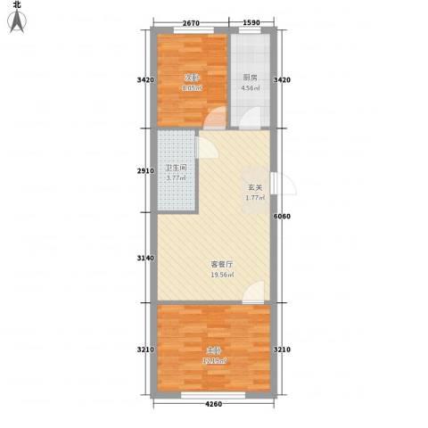心悦购物广场2室1厅1卫1厨68.00㎡户型图