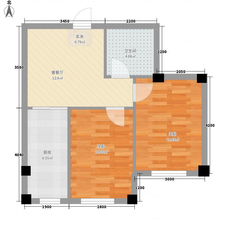 金丰・半山庭院67.20㎡N户型2室1厅1卫1厨