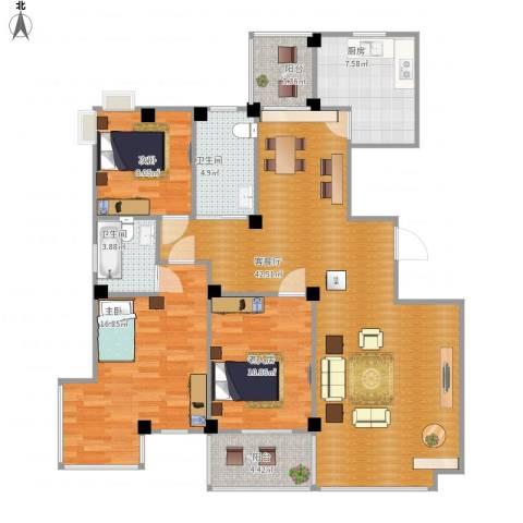 丽园馨都3室1厅2卫1厨139.00㎡户型图