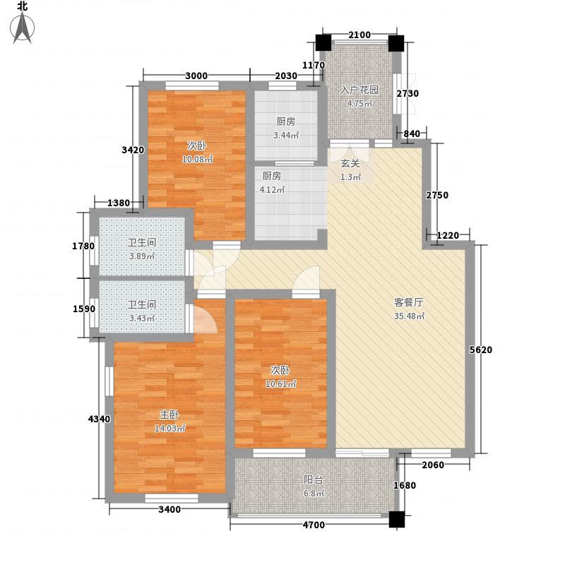 永丰观澜国际133.00㎡观澜国际-Ha-3--户型3室2厅2卫1厨
