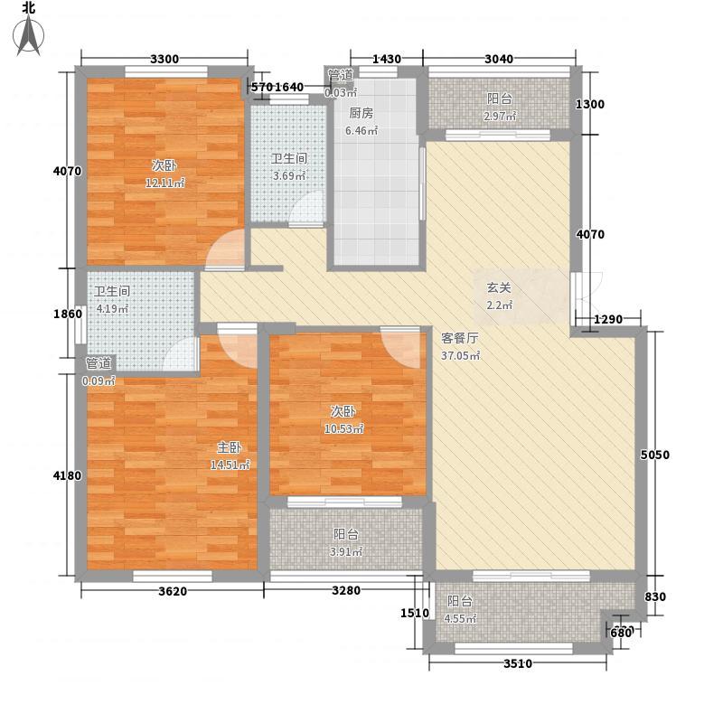 滨江福庭117.73㎡B户型3室2厅2卫1厨