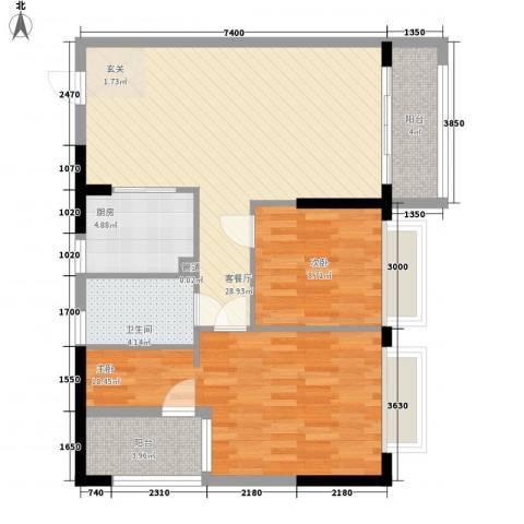 南国豪苑2室1厅1卫1厨82.74㎡户型图