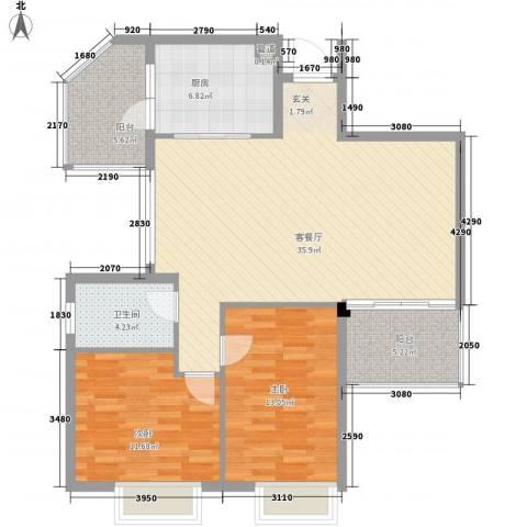 雍泉山庄2室1厅1卫1厨115.00㎡户型图
