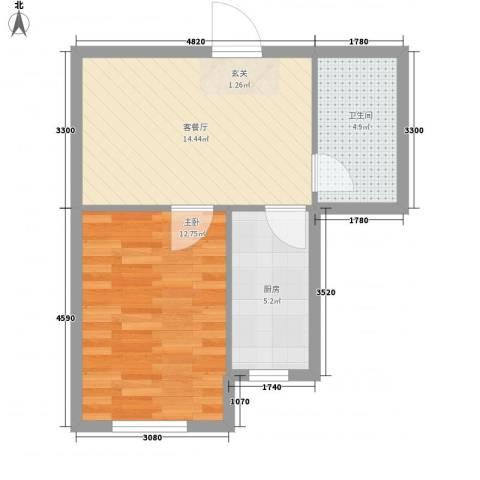 东盛澳景园1室1厅1卫1厨37.29㎡户型图