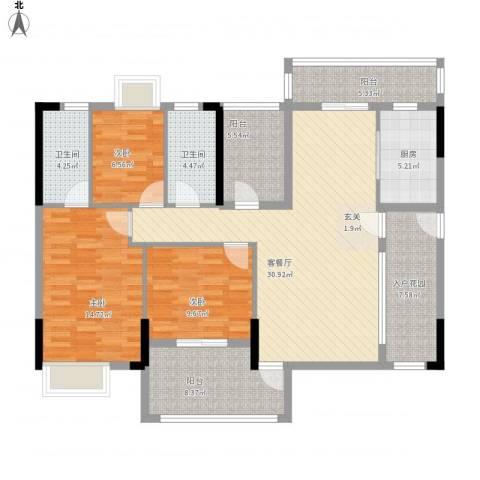 七星奥林园3室1厅2卫1厨147.00㎡户型图