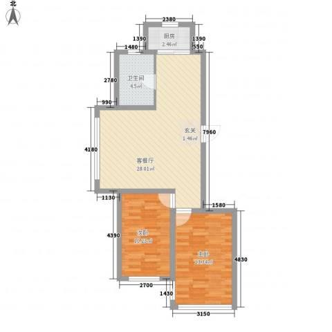 东盛澳景园2室1厅1卫1厨85.00㎡户型图