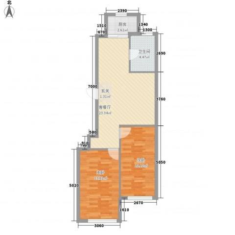 东盛澳景园2室1厅1卫1厨78.00㎡户型图