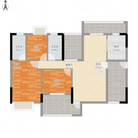 七星奥林园3室1厅2卫1厨146.00㎡户型图