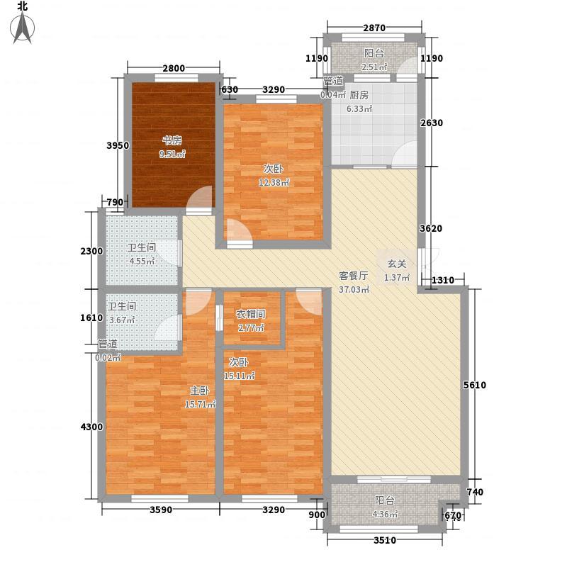 滨江福庭138.10㎡E1户型4室2厅2卫1厨