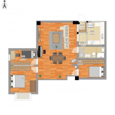 长安未来国际3室2厅1卫1厨109.00㎡户型图