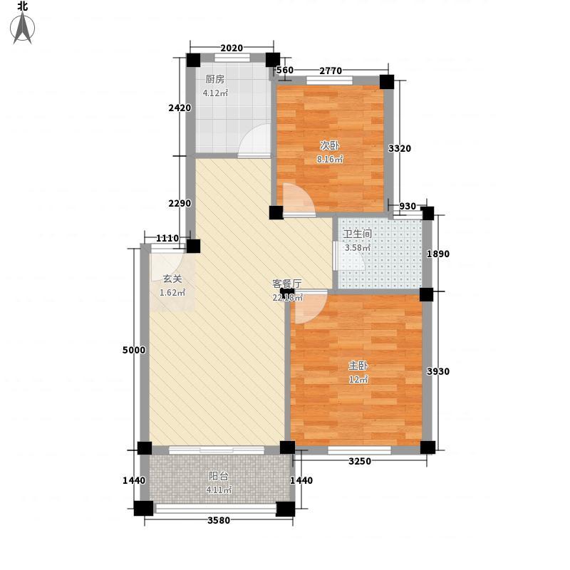 星城半岛76.20㎡C户型2室1厅1卫1厨