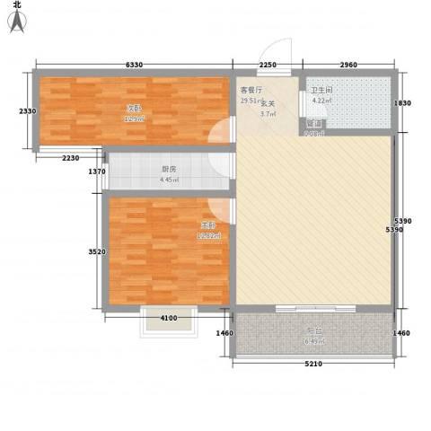 隆安东方明珠2室1厅1卫1厨100.00㎡户型图