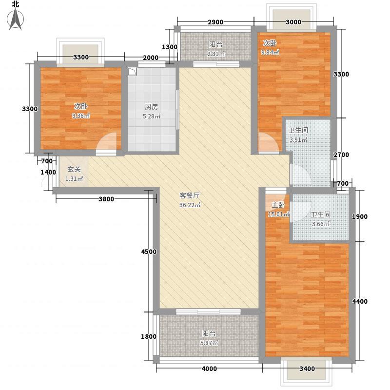 巴陵首府13.80㎡一期1#楼29层C户型3室2厅2卫1厨