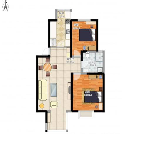 福源九方2室1厅1卫1厨99.00㎡户型图