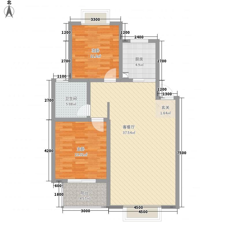 金雁翔龙花苑11.21㎡F型户型2室2厅2卫1厨