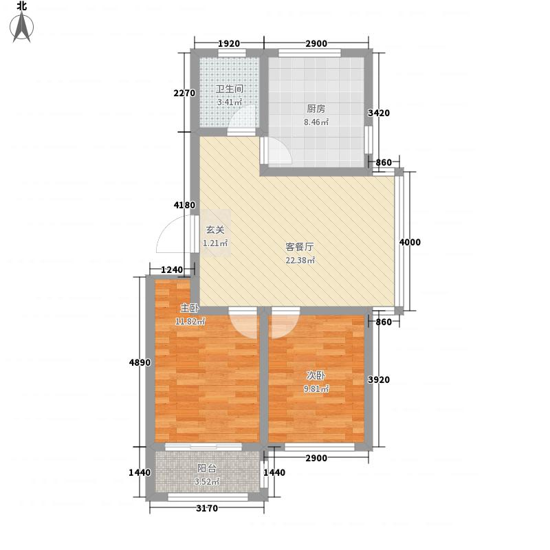 金禾馨苑86.00㎡三期多层1/2/5/6#楼C户型2室1厅1卫1厨