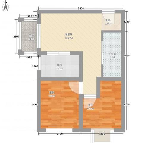 金民雅苑2室1厅1卫1厨35.08㎡户型图