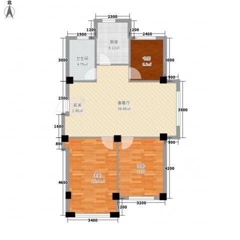 意利黄海明珠3室1厅1卫1厨75.71㎡户型图