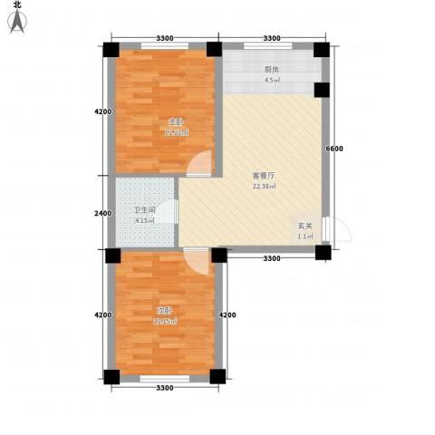意利黄海明珠2室1厅1卫0厨73.00㎡户型图