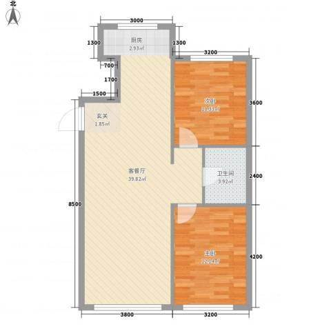 意利黄海明珠2室1厅1卫0厨66.21㎡户型图