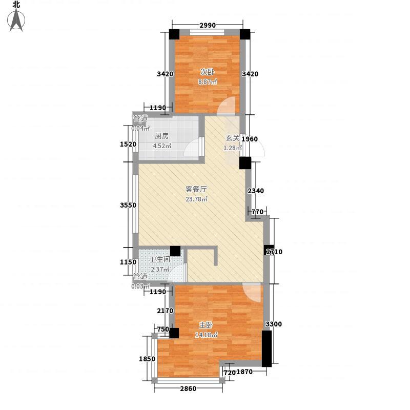 阿金湾・嘉苑73.13㎡B户型2室2厅1卫1厨