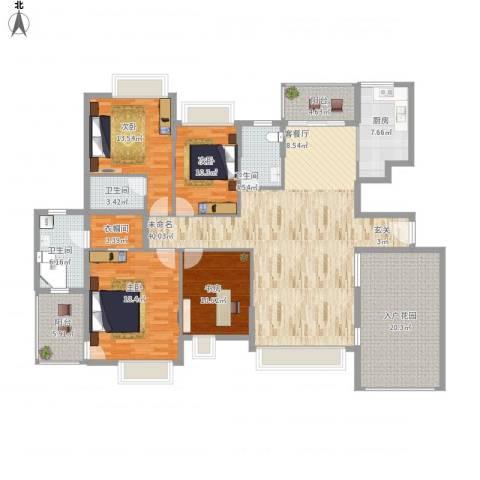 半岛豪庭三期名著4室1厅3卫1厨220.00㎡户型图