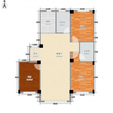 意利黄海明珠3室1厅2卫1厨111.00㎡户型图