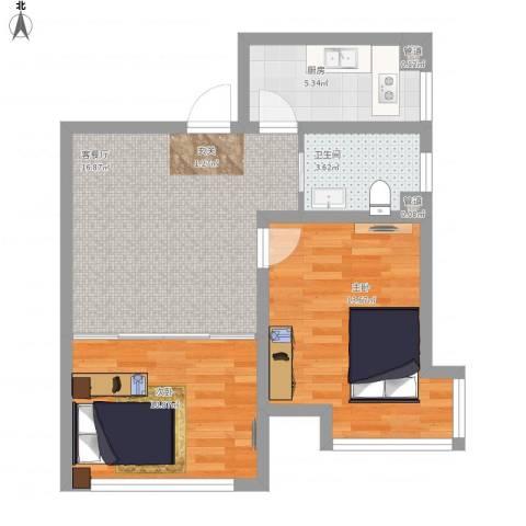 锦绣蓝湾2室1厅1卫1厨73.00㎡户型图