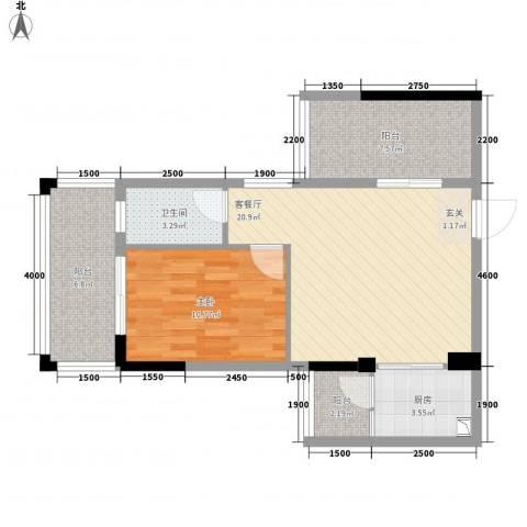 金山祥和花园1室1厅1卫1厨64.00㎡户型图