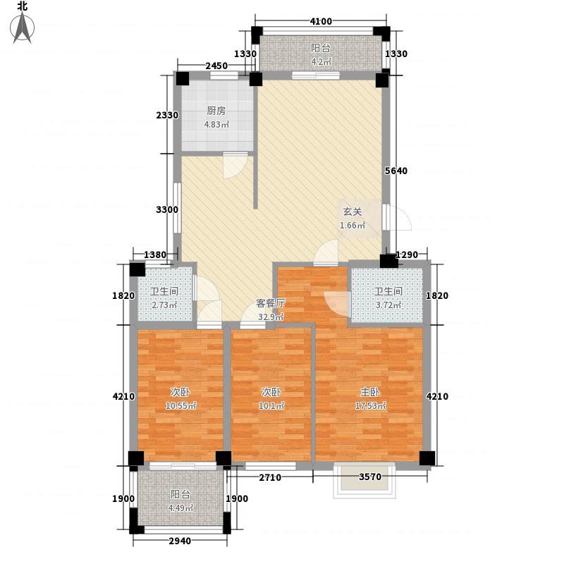 龙登和城12.56㎡和城D1-01户型3室2厅2卫1厨