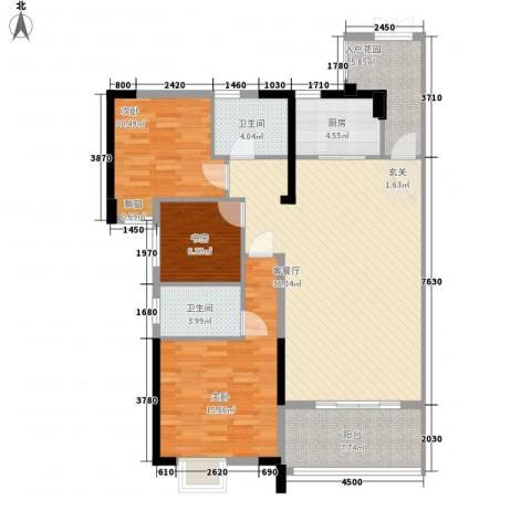 东泰花园3室1厅2卫1厨116.00㎡户型图