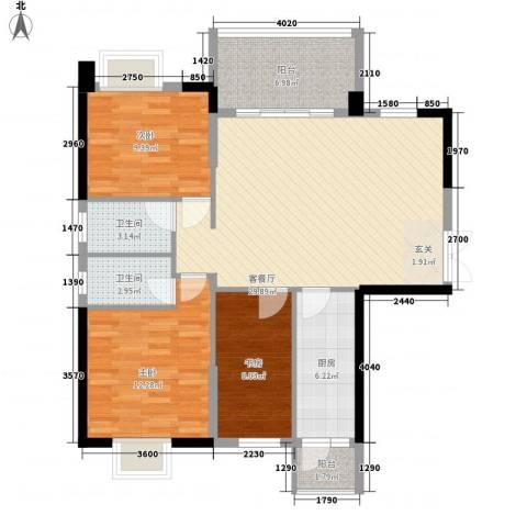 东泰花园3室1厅2卫1厨80.65㎡户型图
