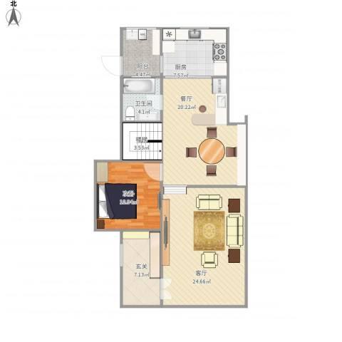 张家港锦绣江南1室2厅1卫1厨111.00㎡户型图
