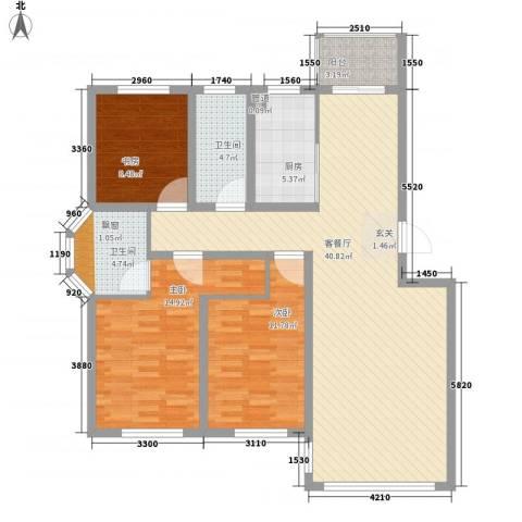 瑞合领秀恋恋山城3室1厅2卫1厨134.00㎡户型图