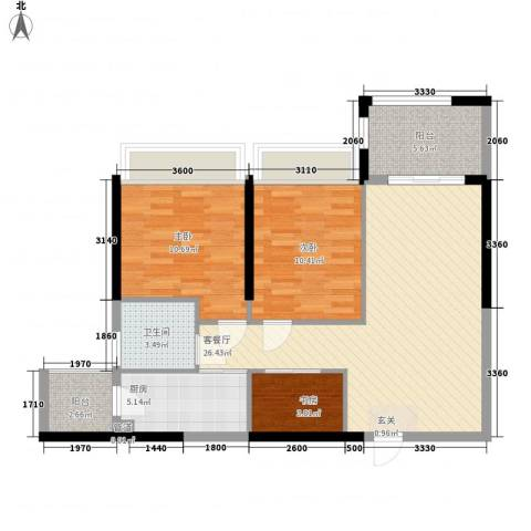 南国豪苑3室1厅1卫1厨77.62㎡户型图