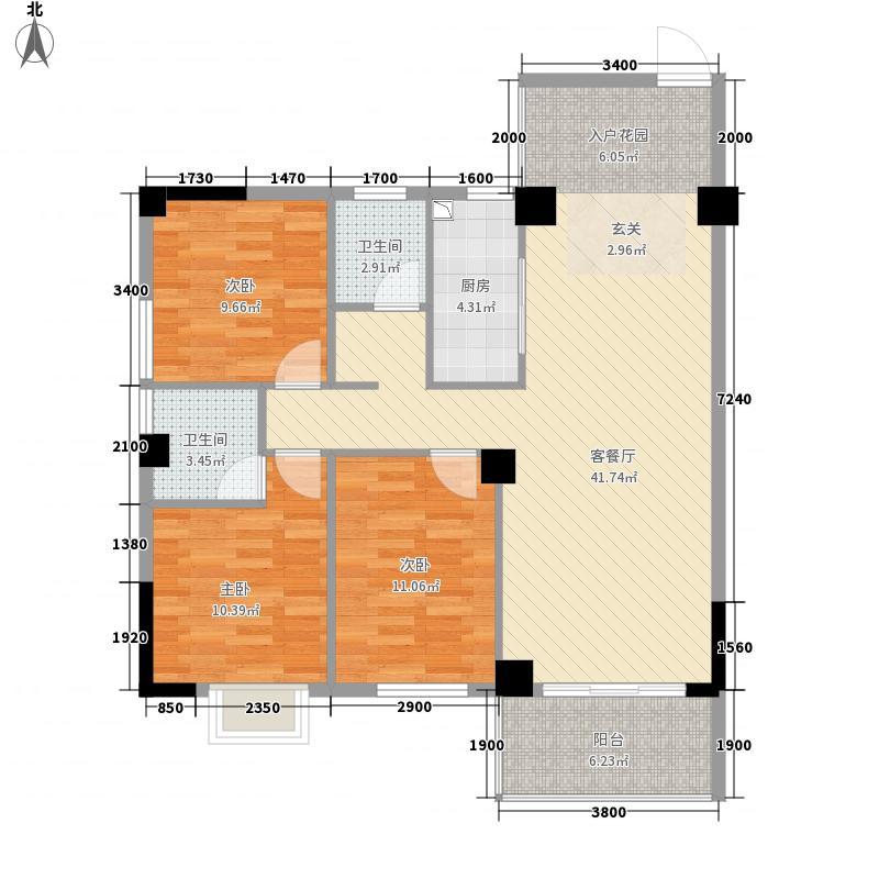 福桂・三千城112.46㎡C区B户型3室2厅2卫1厨