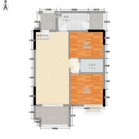 锦绣华景2室1厅1卫1厨84.00㎡户型图