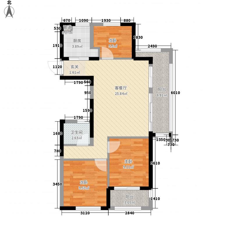 德信・泊林公馆7.20㎡F户型2厅1卫