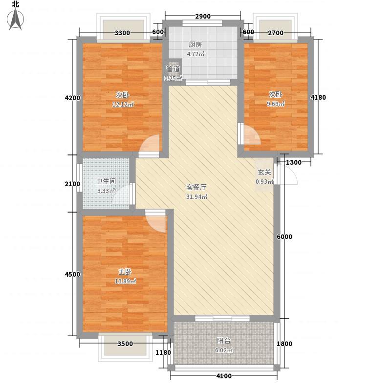 博大・长兴城13.44㎡G户型3室2厅1卫1厨