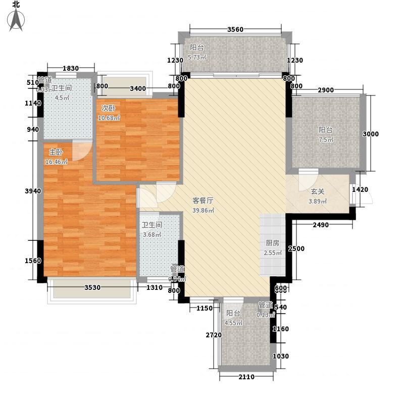 华泰・官邸31.63㎡3号楼标准层01户型2室2厅2卫1厨