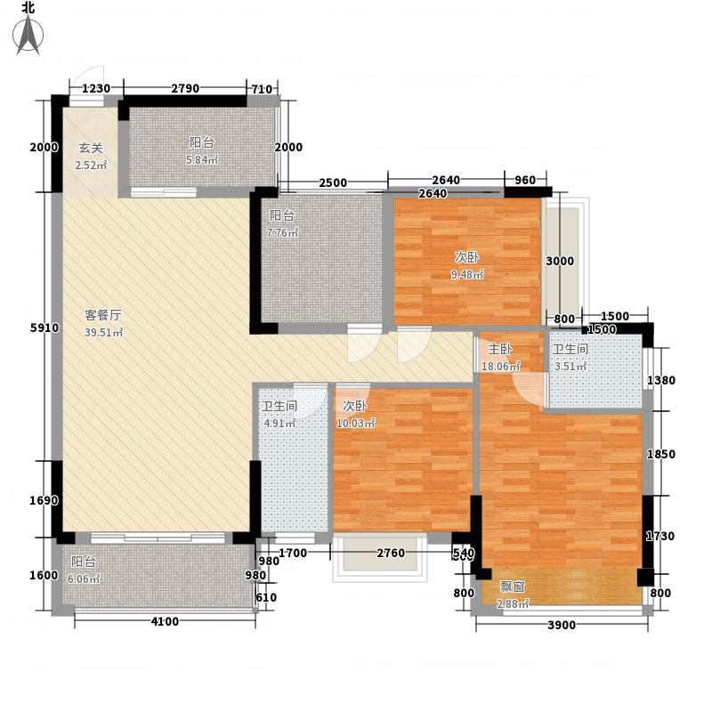 华泰・官邸3121.38㎡3号楼标准层04户型3室2厅2卫1厨