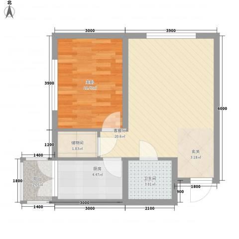 畅心园1室1厅1卫1厨64.00㎡户型图