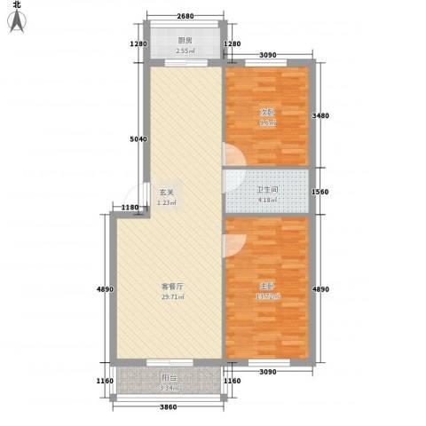 和鑫家园2室1厅1卫1厨87.00㎡户型图