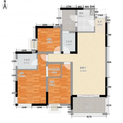 云天锦绣前程3室1厅2卫1厨105.69㎡户型图