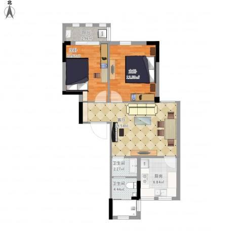 格兰春天2室1厅2卫1厨84.00㎡户型图