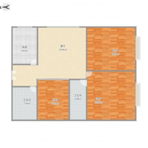 滨东花园3室1厅2卫1厨145.00㎡户型图