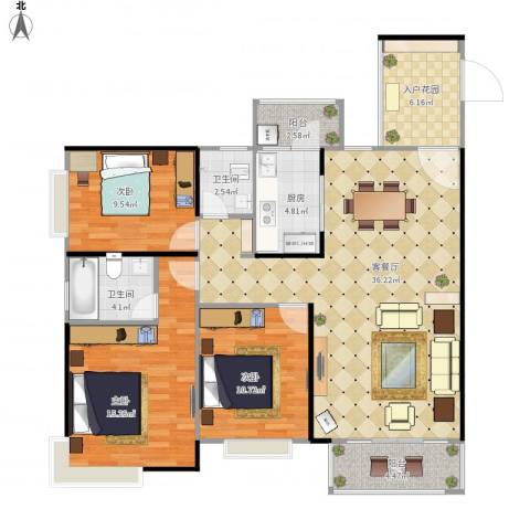 钜隆碧琴湾3室1厅2卫1厨130.00㎡户型图
