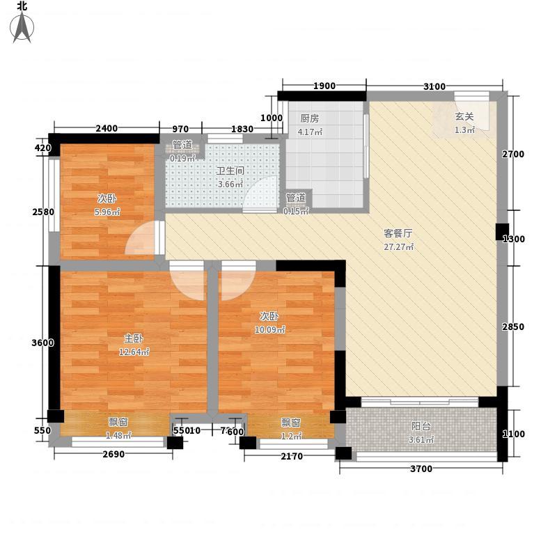 平沙九号86.00㎡G户型3室2厅1卫1厨