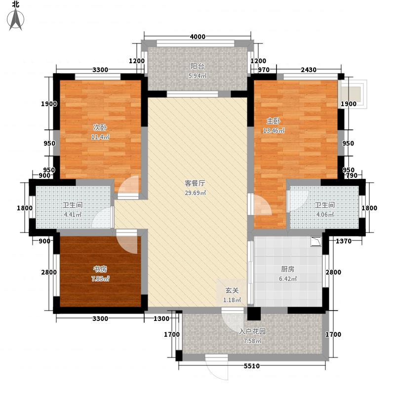 香榭国际17.00㎡N户型3室2厅2卫1厨