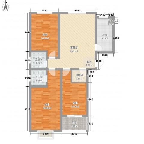 金塔花园3室1厅2卫1厨128.00㎡户型图